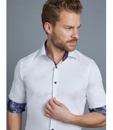 Мужская приталенная рубашка Curtis, стрейч, белая с принтом пейсли на отвороте рукава - под пуговицу
