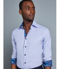 Мужская приталенная рубашка, сиреневая с белым, стрейч - Манжеты на пуговицах