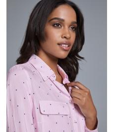 Женская рубашка, свободного кроя, розовая в белую полоску - Манжеты на пуговицах