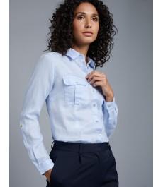 Женская светло-голубая льняная рубашка, свободный крой