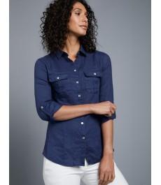 Женская льняная рубашка, французский тёмно-синий цвет, свободный крой