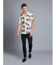 Мужская рубашка Curtis цвета слоновой кости с чёрными леопардами, сводобный крой - короткий рукав