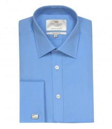 Мужская экстраприталенная гладкотканная офисная рубашка небесно-голубого цвета однотонная - двойная манжета под запонку