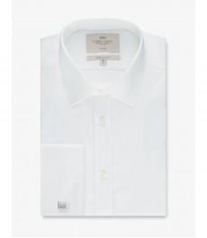 Мужская экстраприталенная рубашка, белая, текстурированная ткань - Не требует глажки - Манжеты под запонки