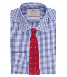 Мужская экстраприталенная рубашка, голубая и тёмно-синяя мелкая клетка - под пуговицу - лёгко гладится