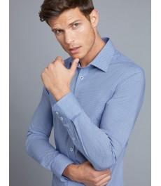 Мужская офисная экстраприталенная хлопковая стрейч-рубашка, бело-голубой принт, рукав под пуговицу