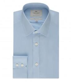 Мужская экстраприталенная голубая офисная рубашка - одинарная манжета