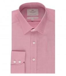 Мужская экстраприталенная рубашка, цвет розовый, ткань переплетение - манжеты на пуговицах