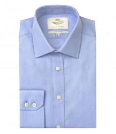 Мужская рубашка, голубая экстраприталенная, твил - манжеты на пуговицах