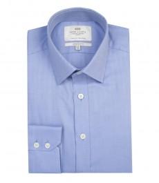 Мужская экстраприталенная рубашка, голубая ткань ёлочка - манжеты на пуговицах