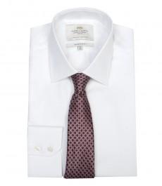 Мужская экстраприталенная офисная рубашка St. James, белая, ткань ёлочка, - Одиночная Манжета