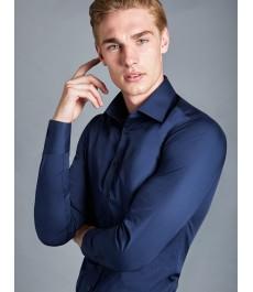 Мужская офисная экстраприталенная рубашка St James, тёмно-синего цвета
