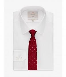 Мужская экстраприталенная рубашка, белая твил - Не требует глажки - Манжеты на пуговицах