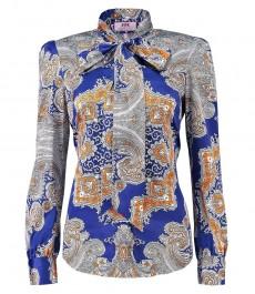 Женская полуприталенная рубашка, голубая в оранжевый пейсли - воротник бабочка