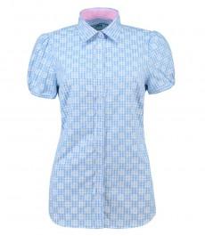 Женская полуприталенная голубая в белую клетку рубашка, короткий рукав