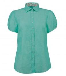 Женская полуприталенная рубашка, зелёная, короткий рукав, Лён