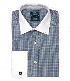 Приталенная мужская рубашка St James , белая с тёмно-синей клеткой, двойная манжета, белый воротник
