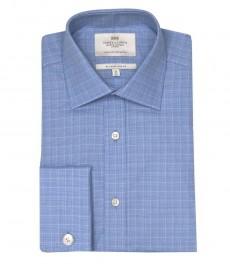 Приталенная мужская рубашка St James , голубая с белым мелкая клетка, двойная манжета