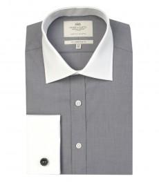 Мужская серая приталенная рубашка , белые воротник и манжеты, ткань с переплетением  - двойная манжета