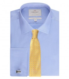 Приталенная мужская рубашка St James, голубая, ткань твил, двойная манжета