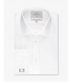 Мужская приталенная рубашка, белая твил - Не требует глажки - Манжеты под запонки