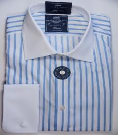 Приталенная мужская рубашка St James, двухцветная голубая с белой полоска, двойная манжета