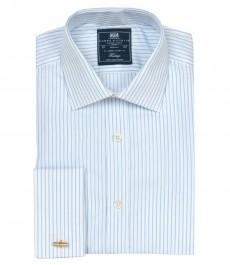 Приталенная мужская рубашка St James, двухцветная голубая со светло-голубой полоска, двойная манжета