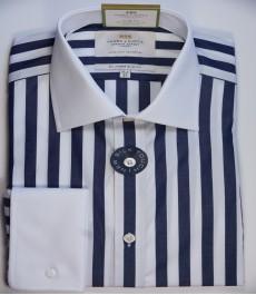 Приталенная мужская рубашка St James, двухветная тёмно-синяя с белым полоска, двойная манжета
