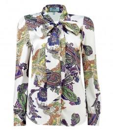 Женская полуприталенная блузка, фиолетовый и оранжевый пейсли