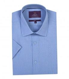 Мужская приталенная тёмно-голубая рубашка, высококачественная хлопковая ткань с переплетением, короткий рукав