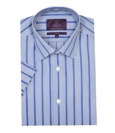 Мужская приталенная модная рубашка голубая в белую широкую полоску с коротким рукавом
