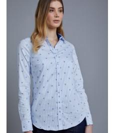 Женская полуприталенная английская рубашка, тёмно-синяя в голубой принт - манжеты на пуговицах