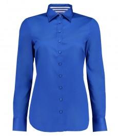 Женская однотонная полуприталенная рубашка, голубого цвета, электрик блю - под пуговицу