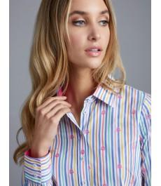 Женская полуприталенная рубашка, голубая в розовую полоску - Манжеты на пуговицах