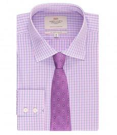 Мужская приталенная рубашка голубая с розовым мелкая клетка - под пуговицу - легко гладится