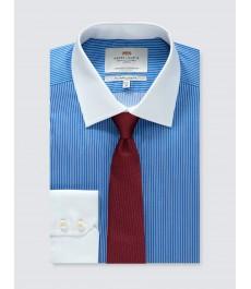 Мужская приталенная рубашка, голубая в белую полоску - Манжеты на пуговицах - Легко гладится