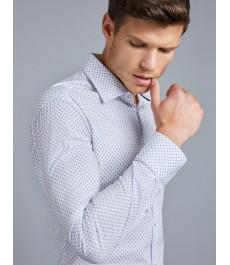 Мужская приталенная хлопковая стрейч рубашка, белая с голубым узором, подходит для официальных и вечерних мероприятий - рукав под пуговицу