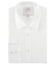 Мужская приталенная рубашка, белая поплин - манжеты на пуговицах