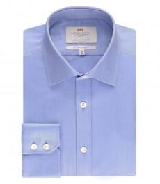 Мужская приталенная рубашка, однотонная голубая, ткань ёлочка - манжеты на пуговицах - легко гладится