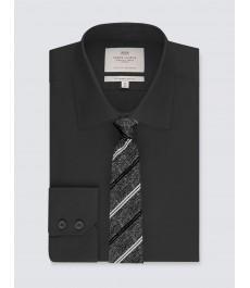 Мужская офисная приталенная чёрная рубашка, стрейч - рукав под пуговицу