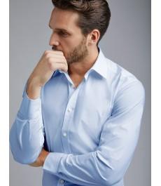 Мужская приталенная рубашка, голубая хлопок, ткань стрейч - Манжеты на пуговицах