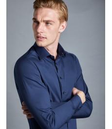 Мужская офисная приталенная хлопковая рубашка St James, стрейч фит