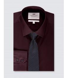 Мужская приталенная рубашка, винная стрейч - Манжеты на пуговицах
