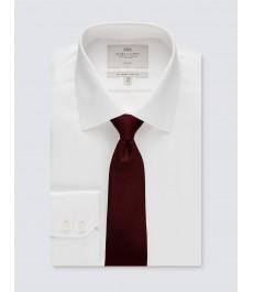 Мужская белая офисная приталенная рубашка, ткань твил, рукав под пуговицу - не требует глажки
