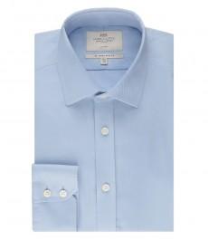 Мужская приталенная рубашка, голубая, твил, манжеты на пуговицах - не требует глажки