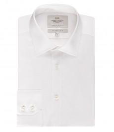 Мужская приталенная рубашка, белая, ткань пике - полусрезанный воротник - легко гладится