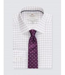 Мужская офисная приталенная рубашка в бело-сиреневую частую клетку - под пуговицу - лёгкая глажка