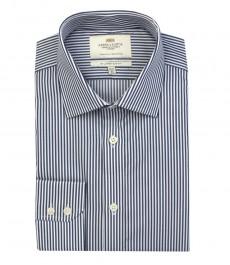 Мужская приталенная рубашка, темно-синяя в белую полоску - манжеты на пуговицах