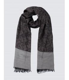 Тёмно-серый шарф, 50% вискоза, 50% шерсть, с принтом пейсли