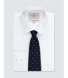 Мужской галстук тёмно-синий в белую точку - 100% шёлк